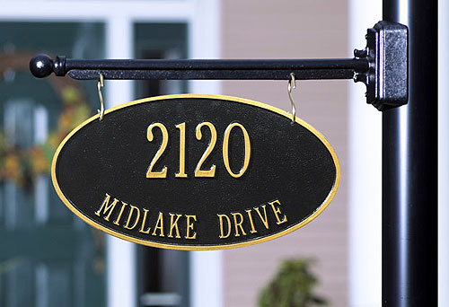 Lamp Post With Address Plaque Hanging House Numbers