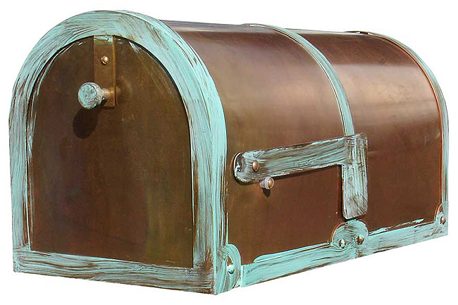 Solid Brass Mailbox With Antique Patina Finish